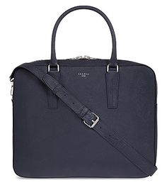 SANDRO - Downtown leather briefcase | Selfridges.com Work Bags, Leather Briefcase, Sandro, Textiles, Luxury, Outfits, Outfit, Clothes, Clothing