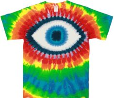 The eye is staring the onlookers down when you wear this multi-color tie dye shirt. Batik Shirt, T Shirt, Batik Fashion, Tie Dye Shirts, Tie Dyed, Rainbow Colors, Eyes, Crafts, Diy