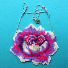 Rose necklace hama beads by GiveMeColours