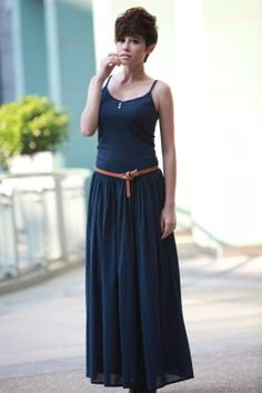 Dark Blue Sexy Montage Pleat Vest dress