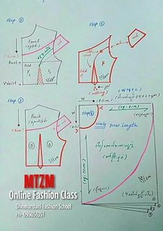 40 ideas for sewing blouse tutorial pattern drafting Dress Making Patterns, Easy Sewing Patterns, Blouse Patterns, Clothing Patterns, Blouse Designs, Sewing Hacks, Sewing Tutorials, Sewing Tools, Blouse Tutorial