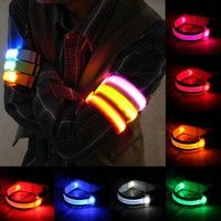 Wish | LED Safety Reflective Belt Strap Arm Band Belt Snap Wrap Armband Running Cycling Sports