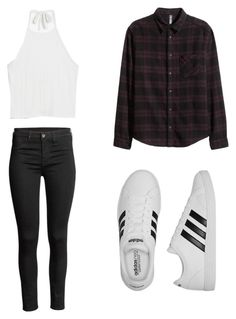 """""""Untitled #2"""" by sydneybrydon ❤ liked on Polyvore featuring Monki and adidas"""