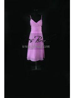 A-line Spaghetti Straps Tea-length Chiffon Bridesmaid Evening Dress SAL0095