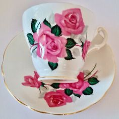 Antiquité. Ensemble tasse-soucoupe porcelaine Regency Angleterre Tout Rose, Oeuvre D'art, Tea Cups, Tableware, Collection, Taking Notes, England, Porcelain, Objects