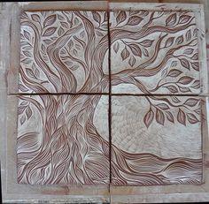 Tree of Life ceramic tile art, unglazed – Natalie Blake Studios