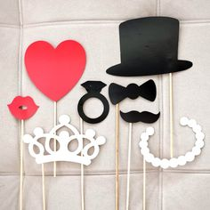 8Pcs/set DIY Photo Booth Props Mustache Lip Ring Heart Crown Stick Lovely Wedding Decorations party Accessories -in Event & Party Supplies from Home & Garden on Aliexpress.com   Alibaba Group