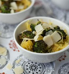 Spaghetti Squash with Roasted Broccoli and Parmesan. Spaghetti squash is a great winter vegetable. Try it out! Mmmm looks yummy