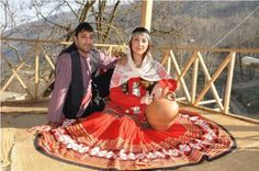 Gilaki Couple, both in traditional Attire, from the Province Gilan in Iran.