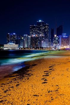 Haeundae Beach in Busan, South Korea Busan South Korea, South Korea Travel, Places To Travel, Places To See, Travel Destinations, Travel Europe, Places Around The World, Around The Worlds, Beautiful Places
