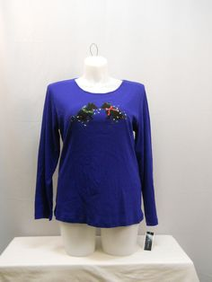 Karen Scott Women's Blue Ugly Christmas Embellished Pullover Knit Top Size 1X #KarenScott #KnitTop #CasualHolidays