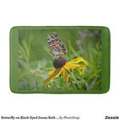 Butterfly on Black-Eyed Susan Bath Mat Bath Mats
