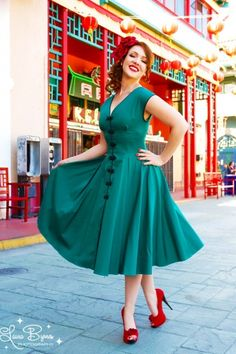 Pinup Couture - Sandra dress in Jade