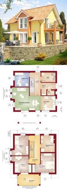 Landhaus Architektur modern im mediterranen Stil mit Satteldach & Quergiebel - Haus bauen Grundriss Einfamilienhaus im Landhausstil Evolution 136 V6 Bien Zenker Hausbau Ideen - HausbauDirekt.de