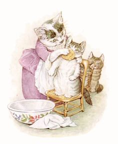 'First She Scrubbed Their Faces' from the 'The Tale of Tom Kitten' (1907). Story and illustration by Beatrix Potter (1866-1943). Hanging in one of my bathrooms.