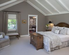 ... kind of obsessed with this warm gray wall color ... Valspar Smoke Infusion is similar ... still looking for exact match. Designer said it was a custom Ben Moore using their Aura Matte base ... hmmm ... now I'm inspired!