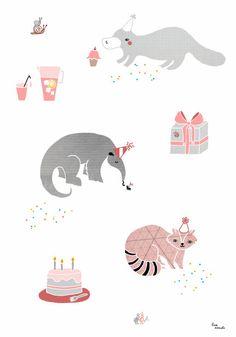 Illustration 'Party Animals' by Lisa Manuels. www.lisamanuels.etsy.com