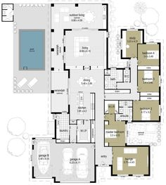 Floor Plan Friday: Indoor/Outdoor living with a pool - If you like a home which is a bit different, not run-of-the-mill and has some special features then - New House Plans, Dream House Plans, House Floor Plans, Layouts Casa, House Layouts, Bedroom House Plans, Home Decor Bedroom, Bedroom Ideas, Building Plans