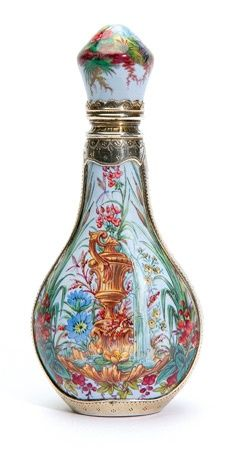 A FINE ENAMEL AND SILVER GILT, PEAR-SHAPED PERFUME BOTTLE, 19TH CENTURY