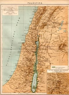 Map of Palestine 1885 Antique Print Vintage by Craftissimo on Etsy, €13.95