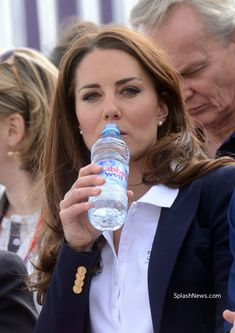 Kate in Navy & White For Equestrian Olympic Event...only she could still look great while drinking a water :-P