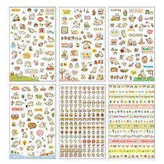 USE!  Bestjybt Tech 6 Sheets Lovely Cat Decorative Adhesive Sticker Tape Kids Craft Scrapbooking Sticker Set for Diary