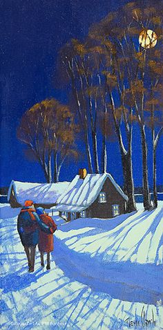 Landscaping To Sell House Oil Painting Pictures, Pictures To Paint, Snow Scenes, Winter Scenes, Art Soleil, Art After Dark, Winter Drawings, Art Gallery, Art Et Illustration