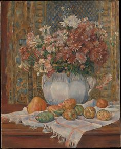 Auguste Renoir (French, 1841–1919). Still Life with Flowers and Prickly Pears, ca. 1885. The Metropolitan Museum of Art, New York. Bequest of Catherine Vance Gaisman, 2010 (2010.454) | Featuring an autumnal bouquet and Cézannesque arrangement of prickly pears, this still life demonstrates how Renoir sought to combine the luminosity of Impressionism with a greater degree of classicism, prompting him to explore techniques that would emulate the dry, light colors of Italian frescoes.