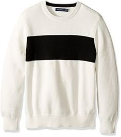 Nautica Mens Long Sleeve Chest Stripe Crew Neck Sweater Marshmallow Small ** Details can be found by clicking on the image.-It is an affiliate link to Amazon.