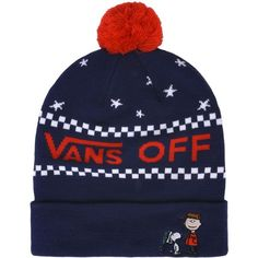 Vans Hat (185 RON) ❤ liked on Polyvore featuring accessories, hats, dark blue, logo beanie, comic book, acrylic beanie hat, logo beanie hats and vans hats