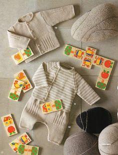 Los Tres Botones: Patrones de ropa de bebe, en punto, con lanas de la marca Fil Katia