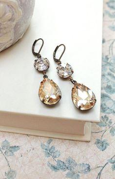 Long Rhinestone Earrings Champagne Topaz Jewel by apocketofposies