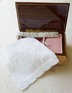 Monogrammed Handkerchief, Personalized Handkerchief, Bridal Handkerchief, Wedding Handkerchief, Crocheted lace handkerchief - FIND MORE HOME & BRIDAL LINENS BY CLICKING THE PHOTO ABOVE!