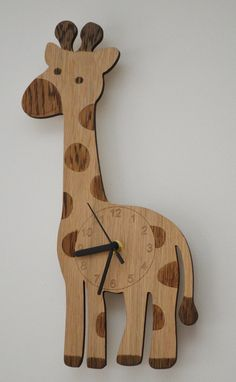 Giraffe clock, laser cut clock, clock for a babies room, clock for a nursery, animal clock, safari clock