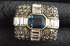 etsy shop: Huge Vintage Heidi Daus Cocktail Ring Clear Rhinestone Gold tone Size 8 https://etsy.me/2uPytKk #jewelry #ring #blue #geometric #no #gold #women #artdeco #heididausring www.mysoulrepair.com