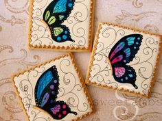 Learn how to make hand painted butterfly cookies in this tutorial by SweetAmbs.