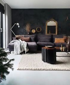 Modern living room by martje overmeer interiors modern Charcoal Living Rooms, Dark Living Rooms, Living Room Colors, Living Room Grey, Home Living Room, Living Room Designs, Living Room Decor, Black Rooms, Black Walls