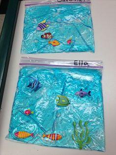 Under the sea pocket aquarium Ziplock bag with blue hair gel and fish stickers Sea Activities, Summer Activities, Preschool Activities, Rainbow Fish Activities, Under The Sea Crafts, Under The Sea Theme, Sensory Bags, Ocean Crafts, Ocean Themes