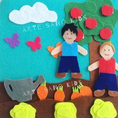 Huerto. Quietbook/Libro sensorial by Arte Sano KIDS. Juguetes sensoriales y educativos hechos a mano. Visita nuestra página de Facebook: Arte Sano KIDS. Instagram: @artesanokids