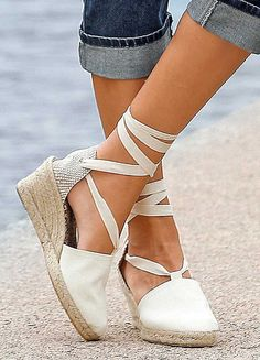 Mid Wedge Espadrilles with Cotton Laces by spanishoponline.com #wedge #laceup #espadrilles                                                                                                                                                                                 More