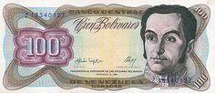 Pieza bbcv100bs-dc01-z8 (Anverso). Billete del Banco Central de Venezuela. 100 Bolívares. Diseño D, Tipo C. Fecha Febrero 03 1987. Serie Z8