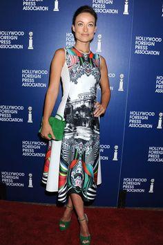 Uno de los looks más comentados fue el de Olivia Wilde, que lució este vestido estampado
