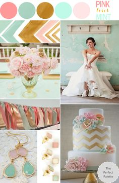 Looking for your wedding color palette? The Perfect Palette wants to help! The Perfect Palette is dedicated to helping you see the many ways you can use color to bring your wedding to life. Gold Wedding, Dream Wedding, Wedding Day, Blush Mint Wedding, Wedding Stage, Wedding Beach, Wedding Pictures, Perfect Wedding, Wedding Color Schemes