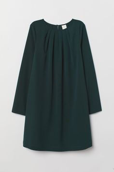 Short dress in woven fabric. Round neckline with pleats, opening at back of neck with concealed button, and long sleeves. Stylish Dresses For Girls, Stylish Dress Designs, Frocks For Girls, Latest Fashion Clothes, Fashion Dresses, Girls Frock Design, Iranian Women Fashion, Mode Hijab, Blouse Dress