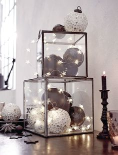 You can create a plethora of decorative items using general glass items lying in. You can create a plethora of decorative items using general glass items lying in your house. Check out our Christmas glass decoration ideas below. Glass Christmas Decorations, Modern Christmas Decor, Black Christmas, Christmas And New Year, All Things Christmas, Christmas Home, Christmas Lights, Christmas Holidays, Christmas Crafts