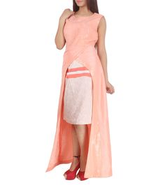 Peach & Off White Dupion & Satin Embroidered Cape With Skirt  Product details:  Colour: Peach & Off White,   Fabric: Dupion & Satin,   Type Of Work: Embroidered.   View 4  #nidhikejriwal #jalwa #jalwanidhi #indiarunwayweek #runwayfashion #fashionshow #fashiondesigner #fashion #fashionstyle #womenfashion #fashionweek #follow4updates #fashionlover #fashiongeek #designernew #newcollection #staywithus