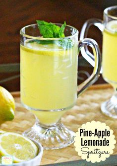 Light and refreshing this Pine-Apple-Lemonade Spritzer is family friendly, too.