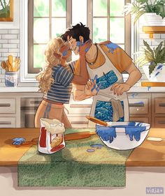 Percabeth Commission from Viria : camphalfblood Percy Jackson Annabeth Chase, Percy Jackson Fandom, Arte Percy Jackson, Dibujos Percy Jackson, Percy Jackson Characters, Percy Jackson Ships, Percy And Annabeth, Percy Jackson Memes, Percy Jackson Books