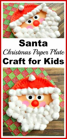 Santa Paper Plate Craft for Kids by A Cultivated Nest | The best ever kids Christmas Craft Ideas. So many fun ideas to get the kids involved in the holiday fun! #christmascrafts #ChristmasCraft #easychristmascrafts #easychristmasideas #KidsCrafts
