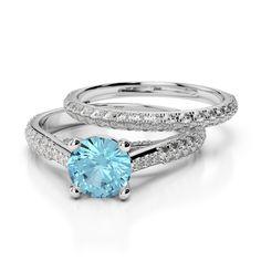 Gold / Platinum Diamond & Gemstone Bridal Set Ring AGDR-2013